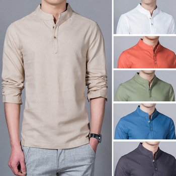 Linen cotton solid color shirt
