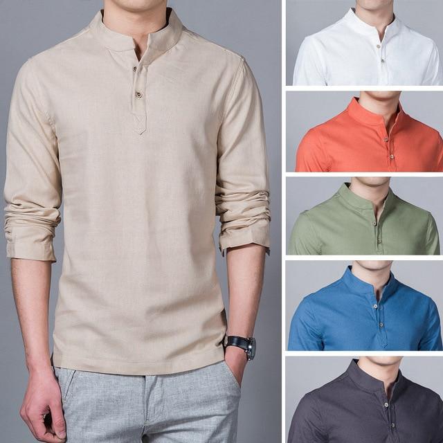 Linen cotton solid color shirt