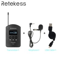 Retekess TT103 UHF Wireless Audio Portable 1 Transmitter+1 microphone+1 USB cable for Tour Guide System Meeting Interpretation