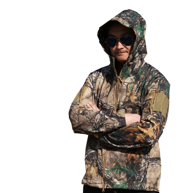 Waterproof fleece warm soft shell bionic camouflage jacket tops winter outdoor fishing hunting climbing windproof thermal