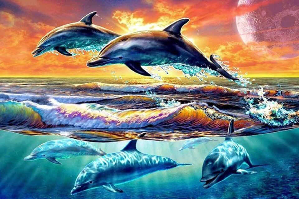 5D Diamond Embroidery Landscape Animal dolphins setting sun full Cross Stitch Round drill Diamond Painting love Gifts