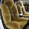 Alta calidad caliente del invierno de lana larga Auto Universal coche de la zalea genuina cubre 4 unids juegos - verde