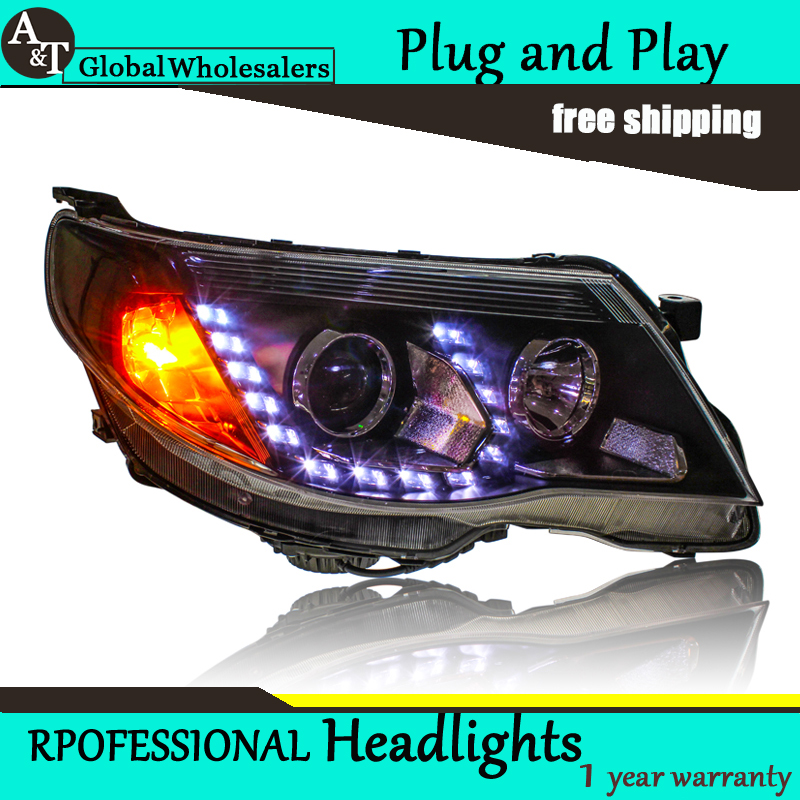 Car Styling for  Forester LED Headlight 2008-2012 Bi Xenon Headlights drl Lens Double Beam H7 HID Car Parts car styling for subaru outback led headlight europe headlights drl lens double beam h7 hid xenon bi xenon lens