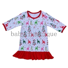 0d2850fc3b Girls Christmas NightGown Ruffle Dress Christmas Pajamas Red And White  Stripe Embroidered Dress Me Christmas Dress