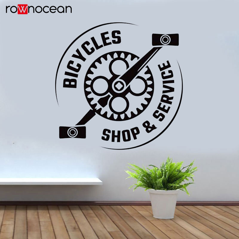 Creative Design Bicycles Shop And Service Wall Sticker Vinyl Home Decor Window Decal Removable Mural Wallpaper Bike Pedal 3397