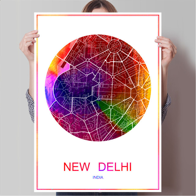 New delhi india world famous city map print poster print on paper or canvas wall sticker