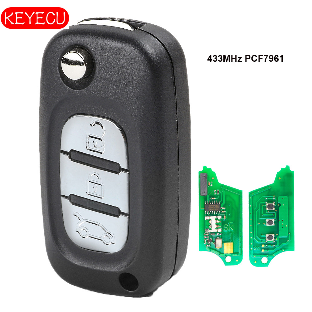 Keyecu Flip Remote Key 3 Button Fob 434MHz PCF7961 for Renault Scenic III , Megane III 2009-2015