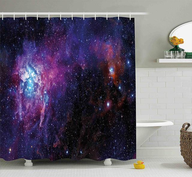 Galaxy Shower Curtain Set Starry Night Nebula Cloud In Celestial Theme E Decorations Print Fabric