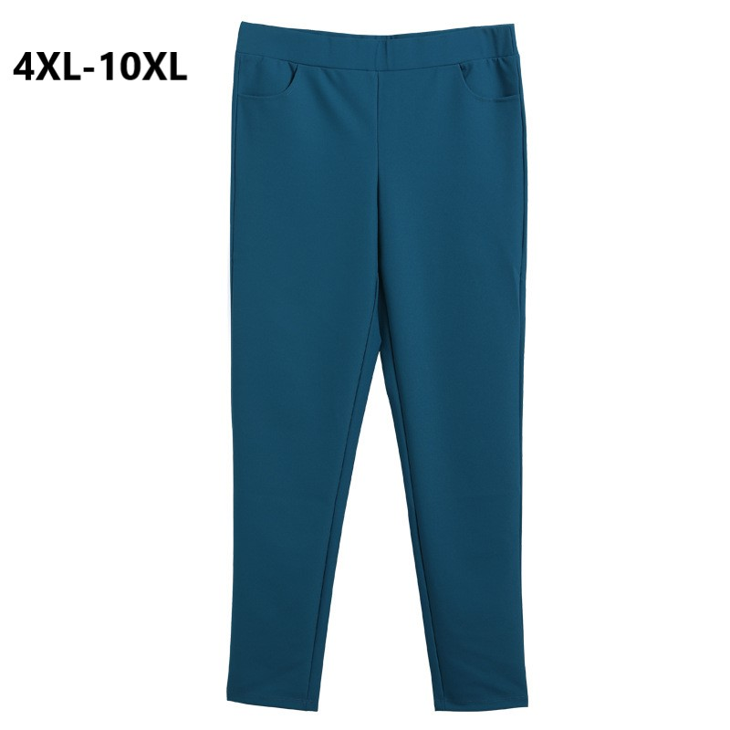 Plus Size 10XL 9XL 8XL 4XL Women Spring Long Pants Female Elastic High Waist Slim Casual