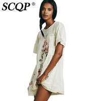 SCQP Lace Patch Floral Embroidery Womens Dresses Cotton Linen O Neck Ladies Beach Dress Loose Fashion