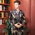 Plus Size 48-56 Moda Outono Inverno Luxo Homens Ternos Calças Da Cópia Da Flor Blazer Slim Fit Partido Do Traje Homme Vestido de noiva