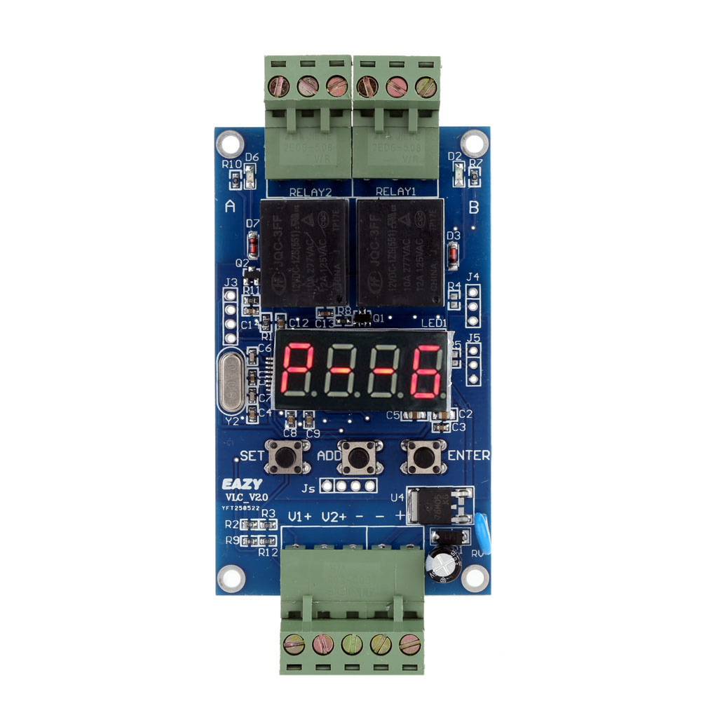 12V Dual Programmable Time Relay Module Relay PLC Board Cycle Delay Timer Module 2 Voltage Detection Control 1pc multifunction self lock relay dc 5v plc cycle timer module delay time relay