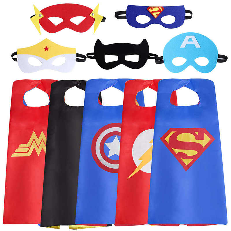 Original superhero cape with mask for children birthday party cosplay dress up Halloween dress superheroes costume