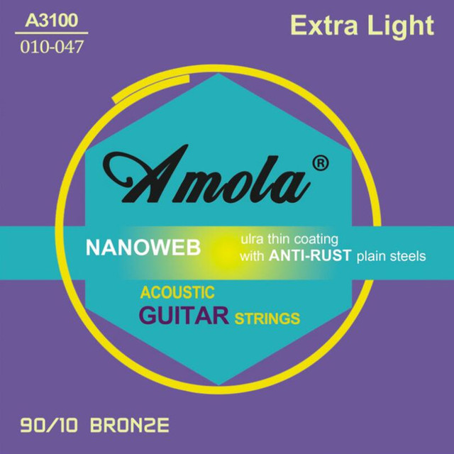 Amola .010-.047 A3100 Acoustic guitar strings 90/10 Bronze extra light strings for acoustic guitar accessories guitar parts