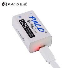 PALO 9 В литиевая батарея 6F22 Li-Ion 650 мАч USB 9 В литий-ионная аккумуляторная батарея для микрофона гитары эквалайзер дымовая сигнализация мультиметр