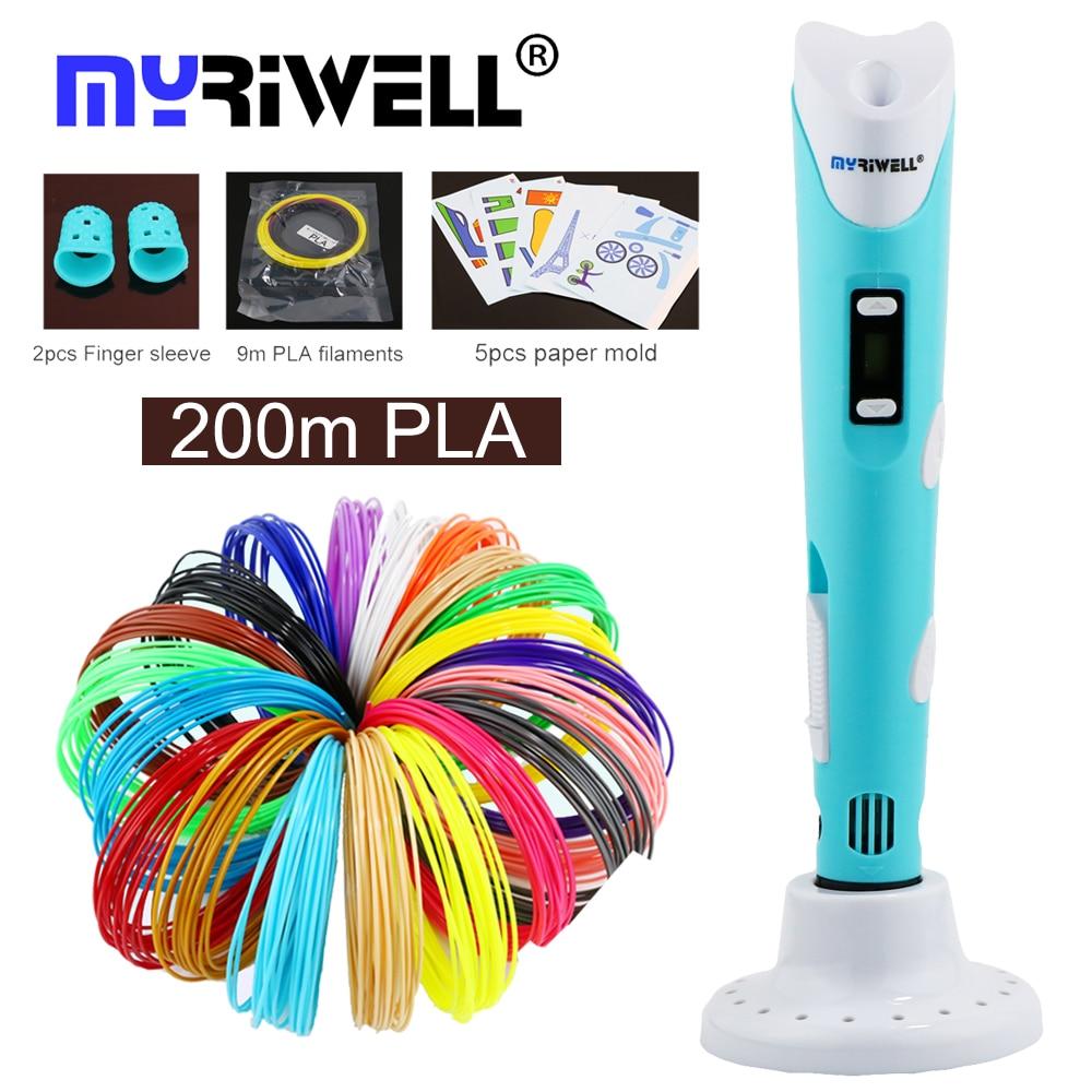 Myriwell 3d penna 3d disegno a penna 100 m o 200 m 1.75mm PLA filamento per i bambini di compleanno regalo di istruzione hobby giocattoli 3d penna stampante