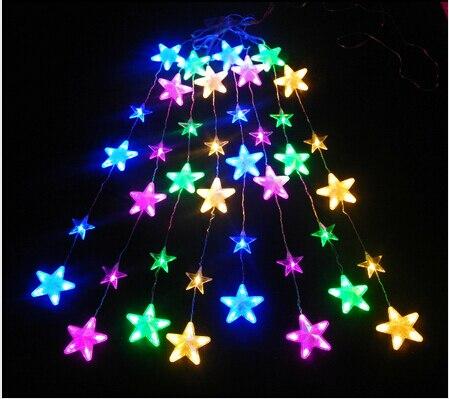 LED kleurrijke ster vijfpuntige ster ijsbar verlichting Gordijn ...
