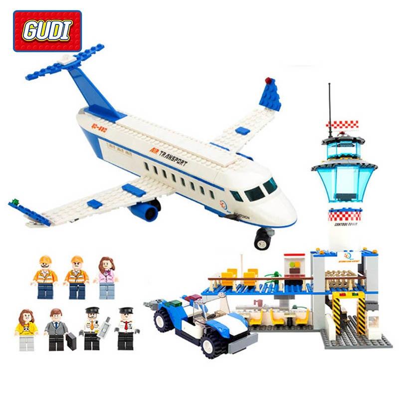 GUDI City Air Plane Building Blocks International Airport Building Blocks 652+pcs Playmobil Blocks Educational Toys For Children gudi earth border blocks children