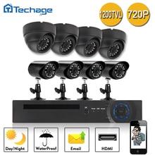 Techage 8-КАНАЛЬНЫЙ 720 P DVR Система ВИДЕОНАБЛЮДЕНИЯ 4 шт. 1200TVL 2.8 мм 3.6 мм Водонепроницаемый Крытый Камеры 4 Мини 1.0MP открытый Камеры Наблюдения Комплекты