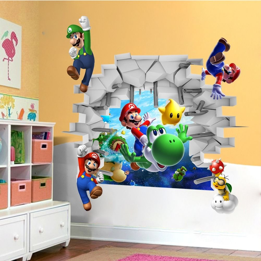 Kids nursery super mario bros 3d view art wall stickers decals kids nursery super mario bros 3d view art wall stickers decals mural home decor in wall stickers from home garden on aliexpress alibaba group amipublicfo Gallery