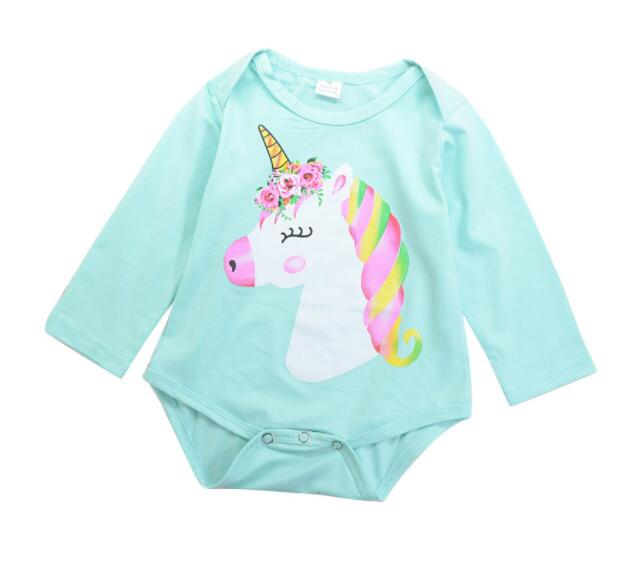 Newborn Baby Girls Romper Unicorn Length Sleeve Cute Lovely Cartoon Horse Jumpsuit Outfits Sunsuit Baby Clothes