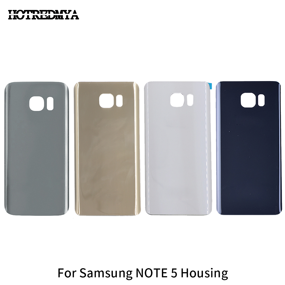 Note5 Rear Battery Cover For Samsung Galaxy Note 5 N920 N920F Back Glass Housing Door Case Relacement Parts+ Sticker