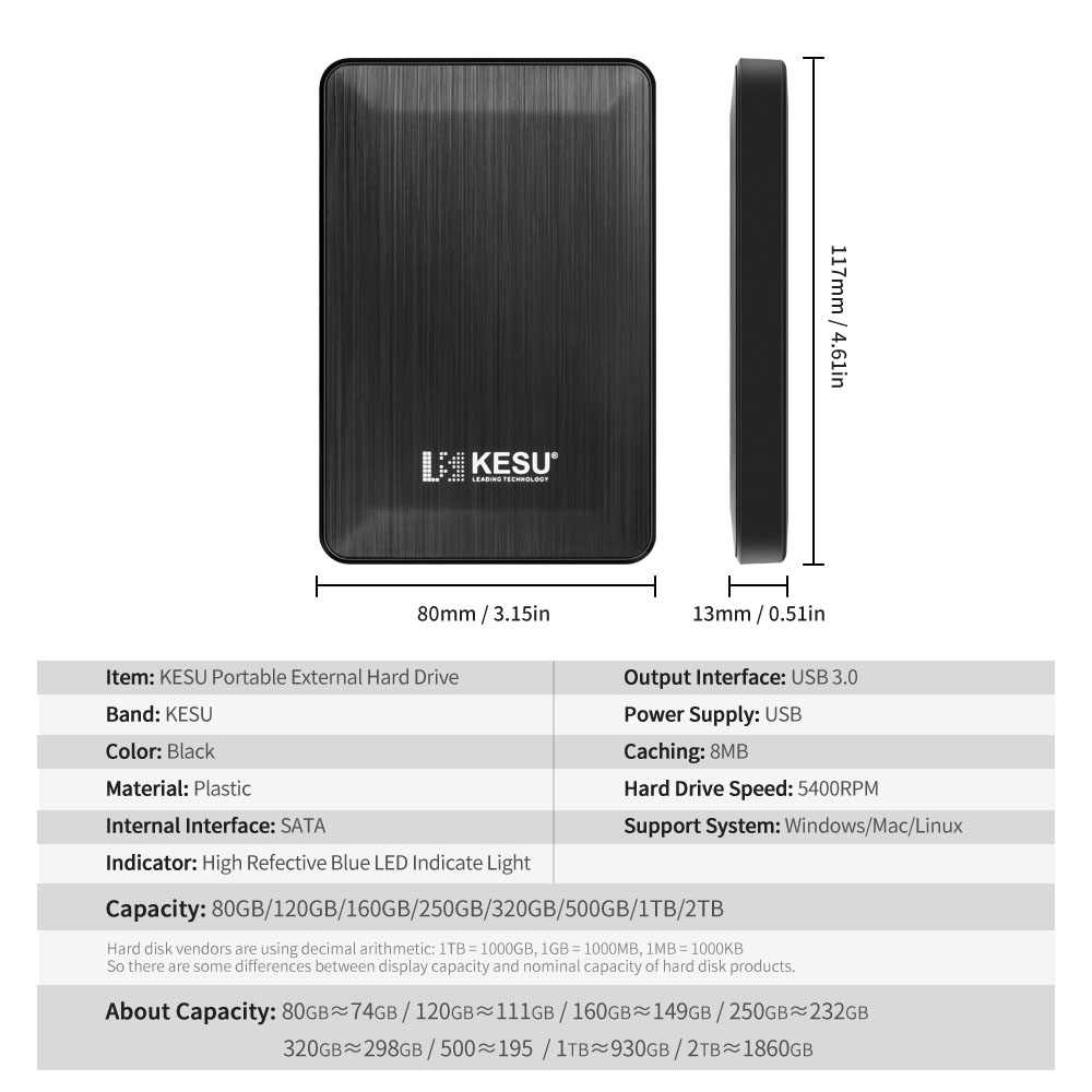 "2.5 ""KESU سليم المحمولة قرص صلب خارجي USB3.0 HDD التخزين للكمبيوتر ، ماك ، سطح المكتب ، كمبيوتر محمول ، Xbox One ، Xbox 360 ، PS4"