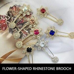 Большая брошь для шарфа, стразы высокого качества с кристаллами, декоративные аксессуары