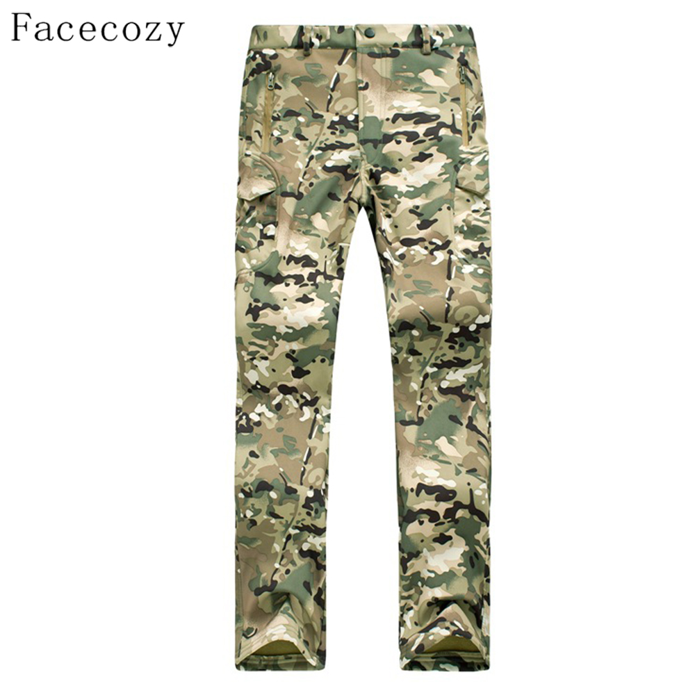 Facecozy Men Autumn Military Hunting Softshell Pant Male Winter Inner Fleeces Camping Sports Trouser Plus Size