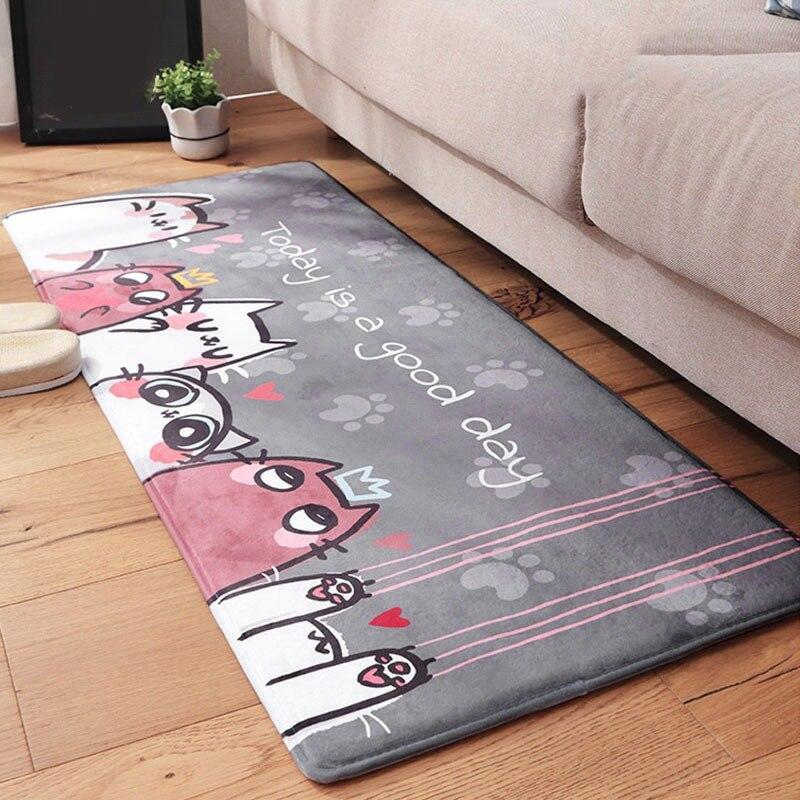 Cat Carpet Door Mat Living Room Kitchen Bedroom Mats Floor Mat Anti-slip Kitchen Carpets Home Mat Tapete Flannel Cartoon Doormat