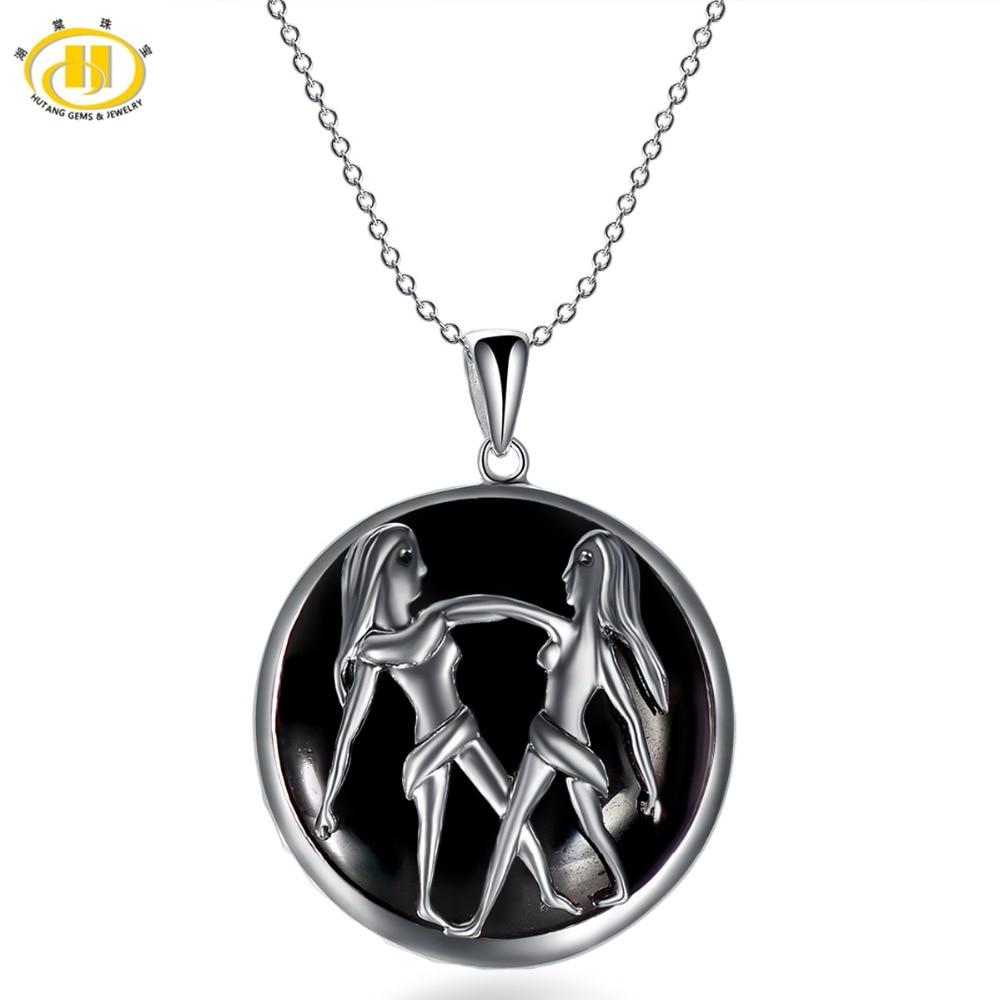 Hutang Trendy Gemini Zodiac Natural Black Star Jade Pendant Solid 925 Sterling Silver Necklace Free Chain Women's Men's Jewelry angel wight gemini zodiac isbn 9785448399503