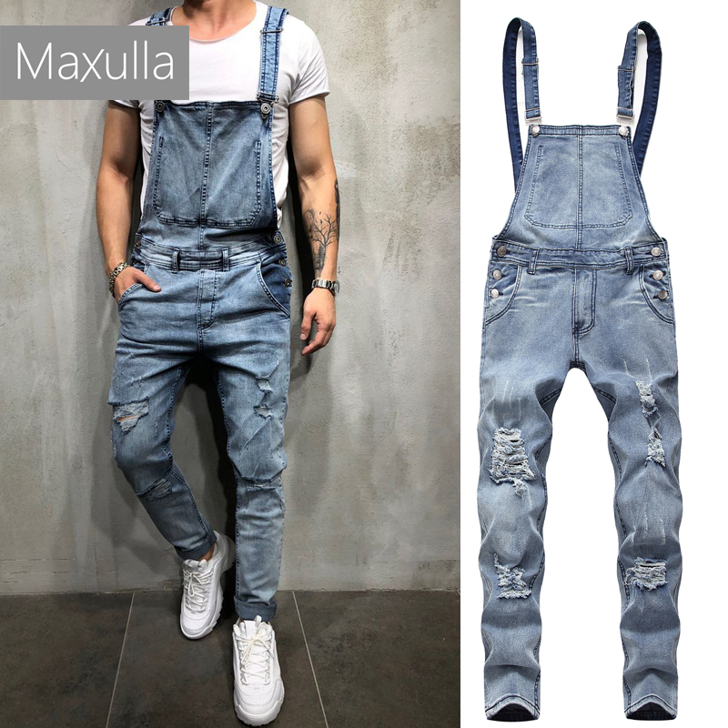 Maxulla denim overalls men spring rompers male Carpenter   jeans   stylish Suspenders bib overalls trousers men street wear Mla034