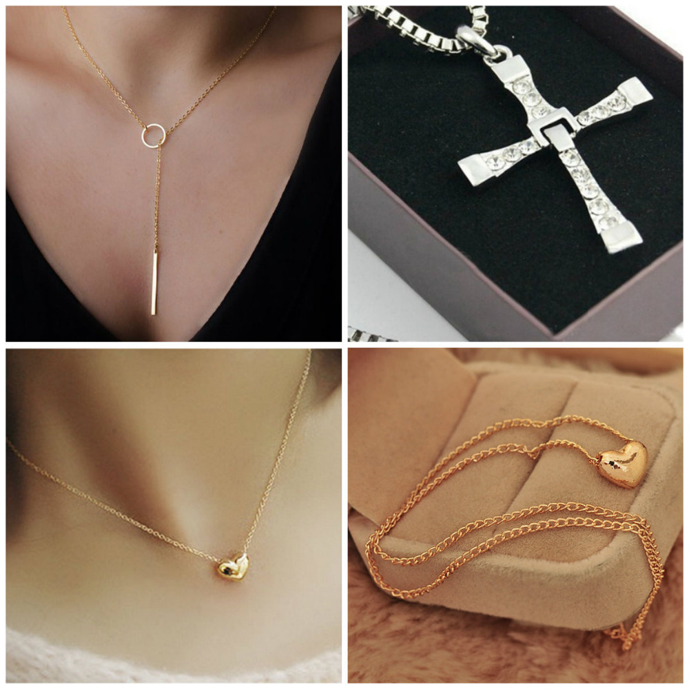New Pretty Gold Plated Heart Y Cross Shape Womens Bib Statement Chain Jewelry Pendant Necklace Choker #DQlyt