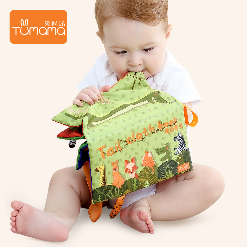 Tumama Baby Cloth Book Early Learning Educational Toys with Animals Tails English Story Soft Cloth Development Books RattelesToy
