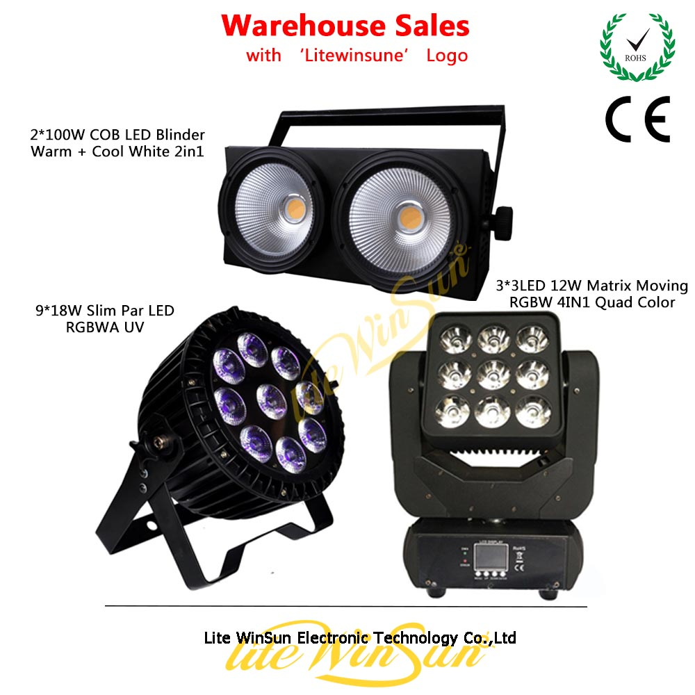 Litewinsune Warehouse Sales Stage Lighting COB Audience Blinder Slim LED Par Can LED Matrix Beam Moving Head Light show plaza light stage blinder auditoria light ww plus cw 2in1 cob lamp 200w spliced type for stage