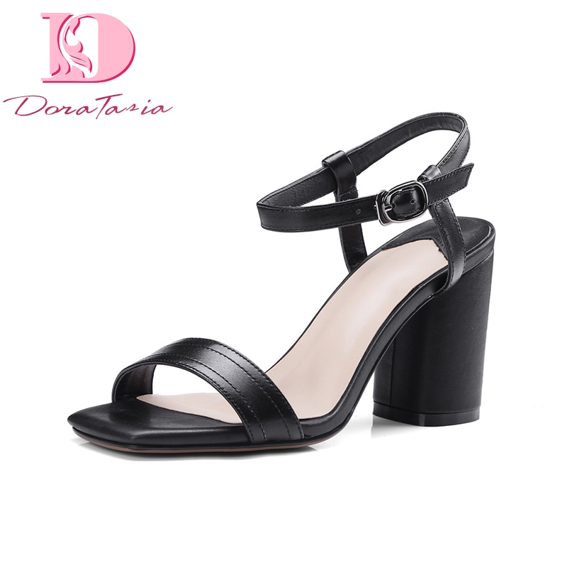 DoraTasia Brand Design Buckle Strap Genuine Leather Solid Square High Heels Shoes Woman Sexy Summer Sandals