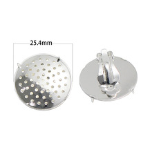 Beadsnice Brass Flat Round Tray Cabochon Setting Earing Set Components Clip-on Earring Findings 37616E
