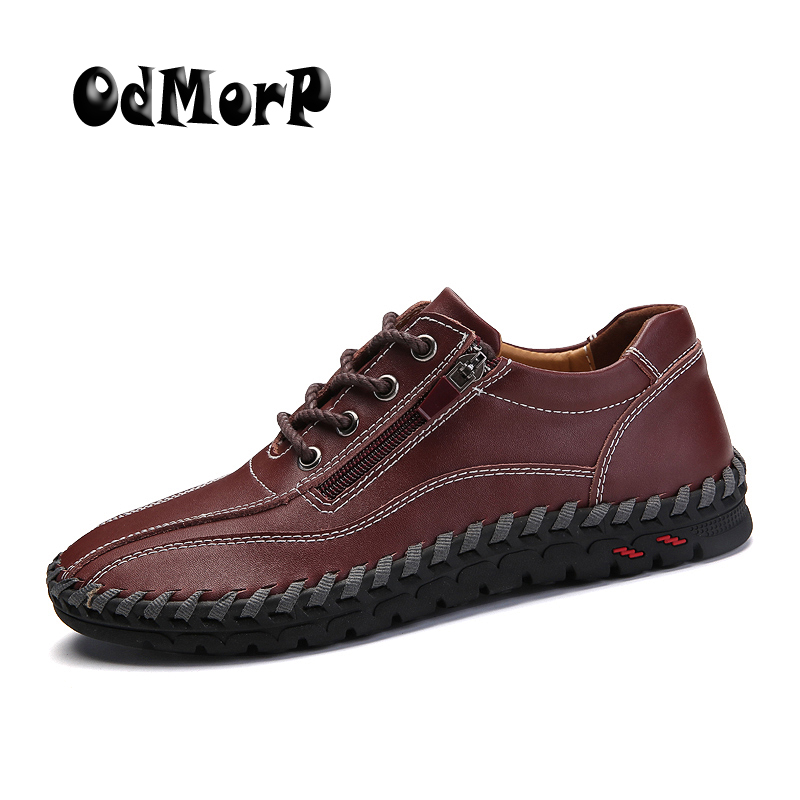 ODMORP Men Shoes Leather Casual Shoes Men Oxfords Brown Fashion Zip Flats High Quality Rubber Big Shoes Size 47 48 49 2017 hot sale men shoes suede leather big size high quality fashion men s casual shoes european style mens shoes flats oxfords