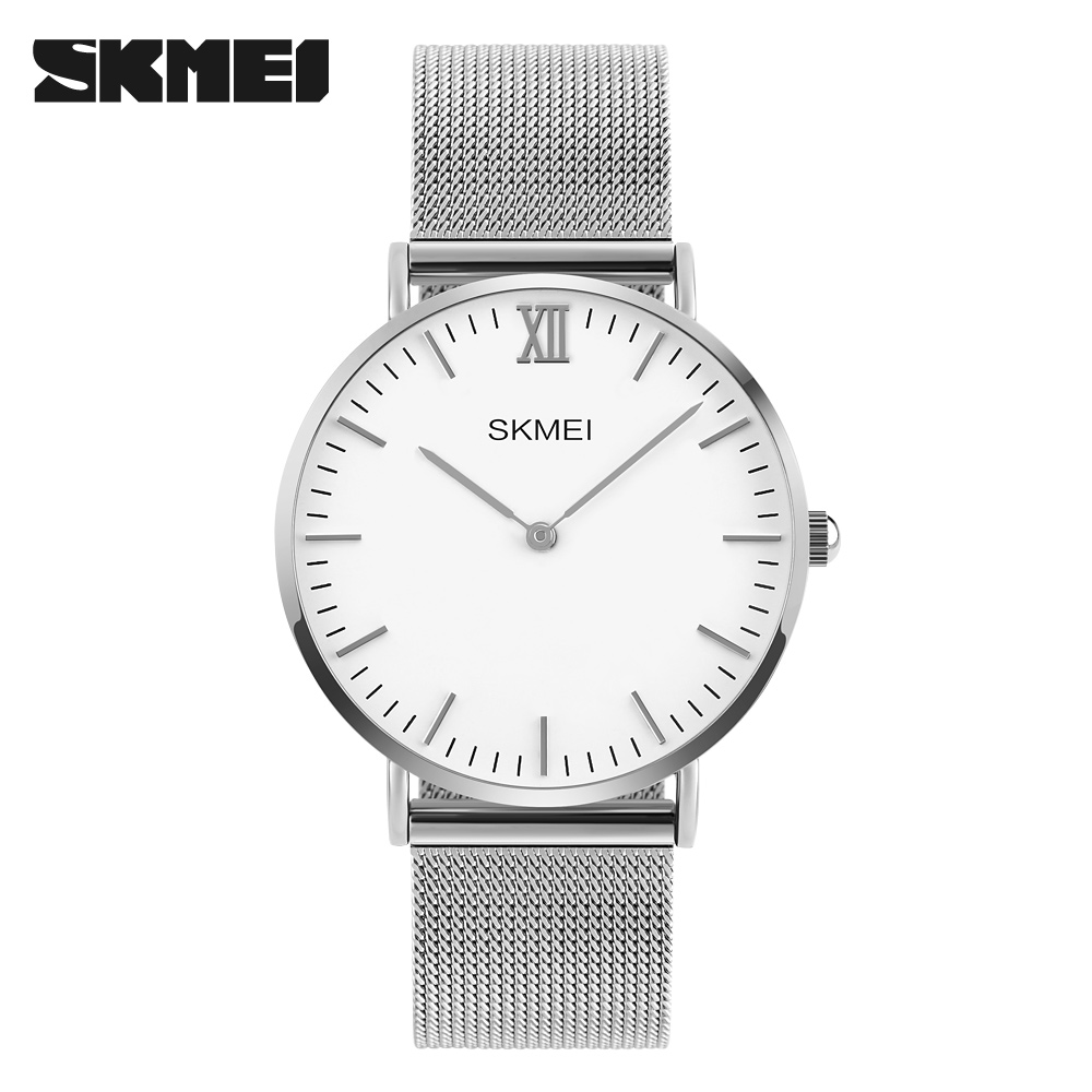 sapphire crystal watches promotion shop for promotional sapphire top brand skmei men s watches stainless steel band net belt analog sports quartz wristwatch ultra thin dial luxury watches men