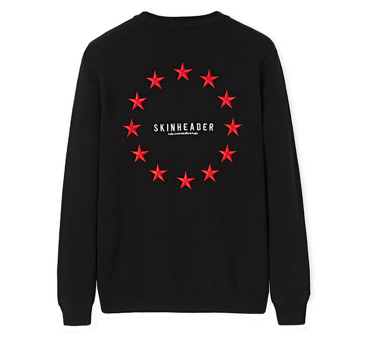 New 2019 Man Luxury Embroidered Skinhead Stars Knit Casual Sweaters Pullovers Asian Plug Size High Quality Drake #J61