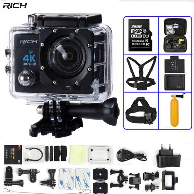 Экшн-К камера 4 к Ultra HD wifi gopro hero 4 Stlye 1080 P/30fps 2,0 ЖК 170 объектив Дайвинг Водонепроницаемый 30 м DV шлем Cam Спортивная камера