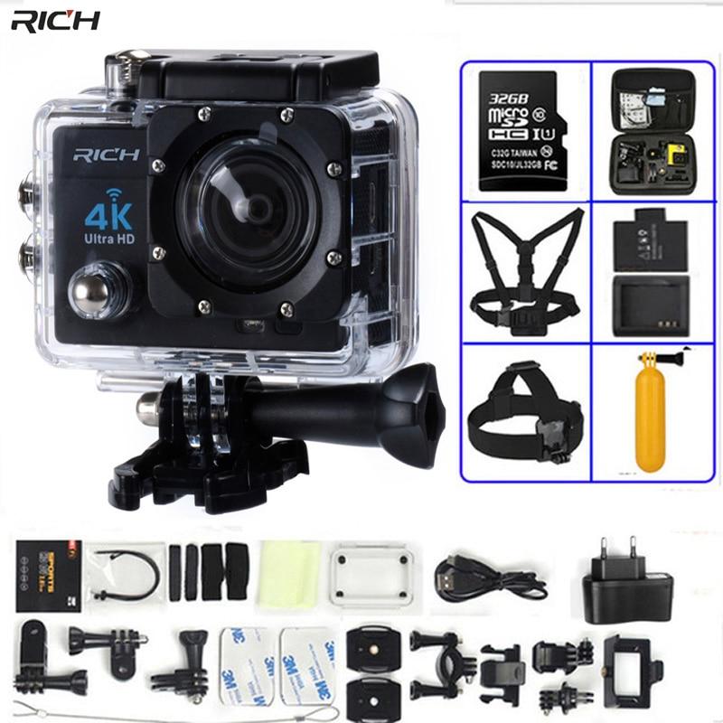 Богатый действие Камера 4 К Ultra HD WI-FI 1080 P/30fps 2.0 ЖК-дисплей 170 объектив Go Pro Stlye Дайвинг водонепроницаемый 30 м DV шлем CAM спортивные Камера