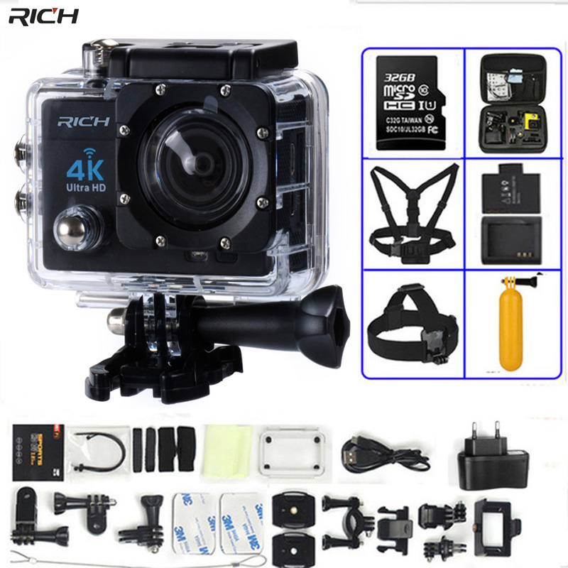 Action Kamera 4 Karat Ultra HD WIFI gopro hero 4 Stlye 1080 P/30fps 2,0 LCD 170 Objektiv Tauchen Wasserdichte 30 Mt DV Helmkamera Sport kamera