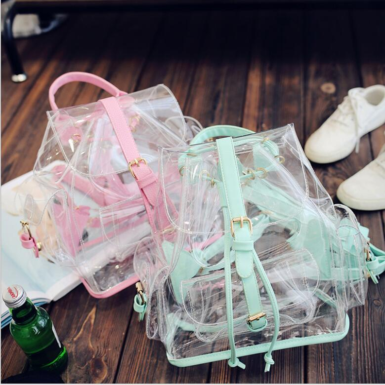 2018 NEW Cute Clear Plastic See Through Transparent Backpack Women Girl Student Travel Bag Satchel PVC School Book Bag