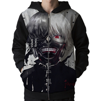 New Cute Men's Tokyo ghoul Hoodie Ken Kaneki Mask Face Anime Costume Hoody Coat Sweatshirt Men