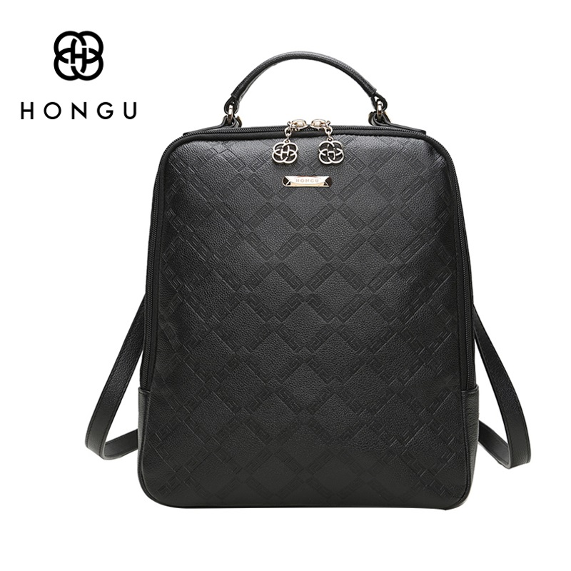 HONGU Real Genuine Leather Backapck for Women Luxury Brand School Back Pack Girls Travel Rucksack With Top Handle Mochila Black global elementary coursebook with eworkbook pack