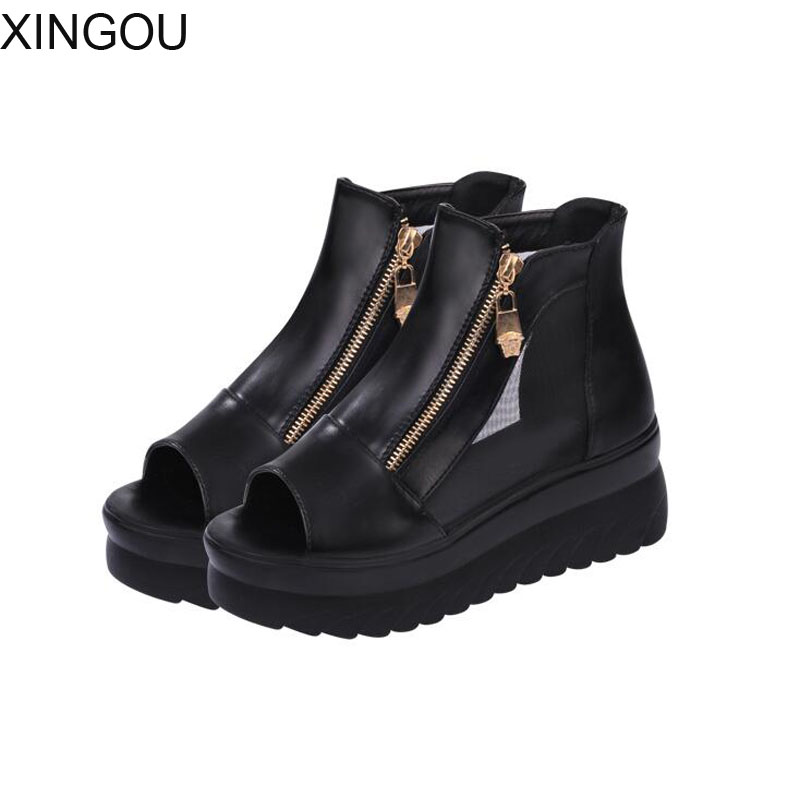 New women sandals fish head thick crust muffin sandals lady height increasing shoes mesh slippers high heels women wedges slope with super high heels 14cm platform shoes sandals and slippers spring and summer fish head thick crust waterproof shoes