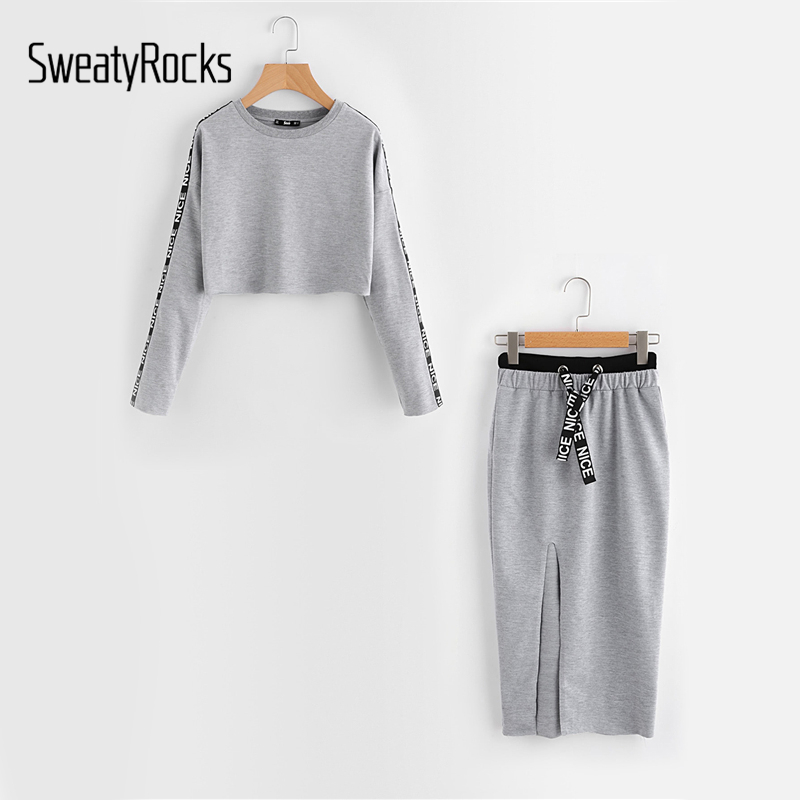 SweatyRocks Printed Tape Detail Pullover Slit Skirt Set Women Grey Round Neck Long Sleeve Casual 2017 Autumn Women Clothes Sets