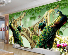 Beibehang Custom 3d wallpaper beautiful peacock big tree modern art wall painting living room bedroom for walls 3 d