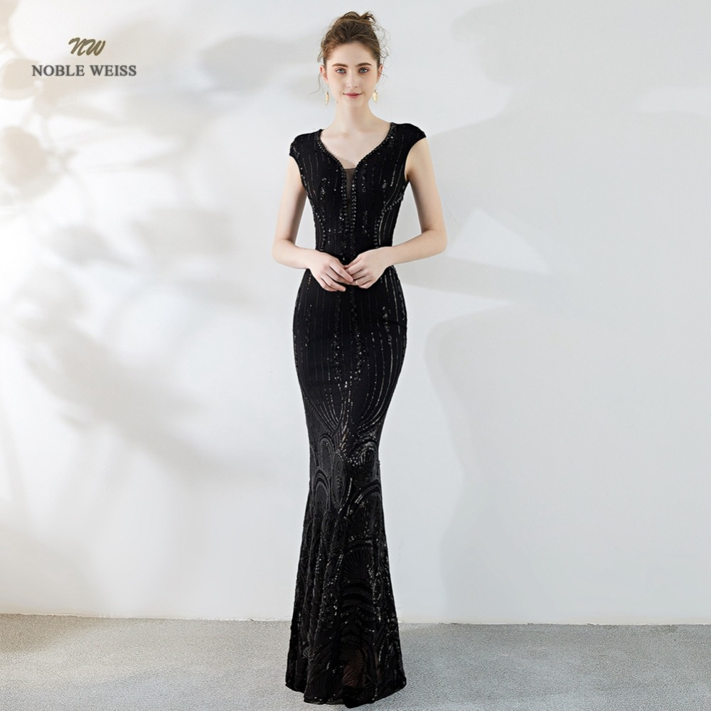 Elegant Mermaid Long   Evening     Dress   Blue Sequin Beading Sexy In Stock V-neck Party   Dresses   Prom Gown